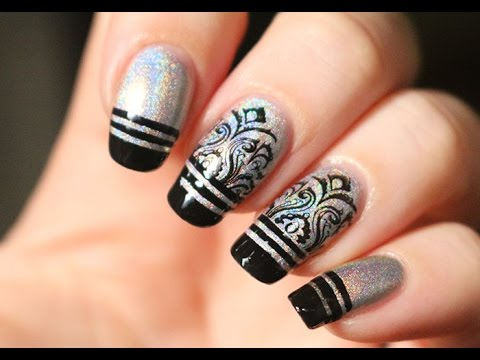 Vernis holographique et stripping tape nail art facile youtube - Nail art facile ...