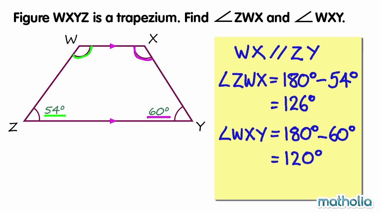 worksheet Properties Of Trapezoids finding unknown angles in a trapezium youtube trapezium