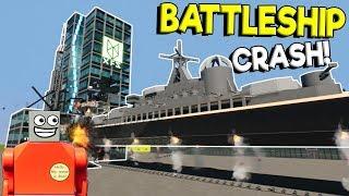 LEGO BATTLESHIP CUTS SKYSCRAPER IN HALF! - Brick Rigs Gameplay - Lego Building Destruction