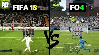 FIFA ONLINE 4 vs FIFA 18 Gameplay Comparison (Free kicks - penalty....) :O !!