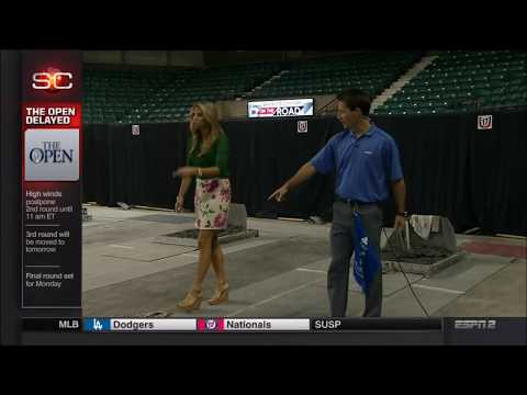 Pitching Horseshoe with Sparkle Pony Sara Walsh (ESPN)