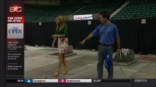 Pitching Horseshoe with Sparkle Pony Sara Walsh (ESPN)