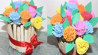 DIY - How to Make Best out of Waste Flower Vase - Awesome Ideas of Using Paper And Popsicle sticks