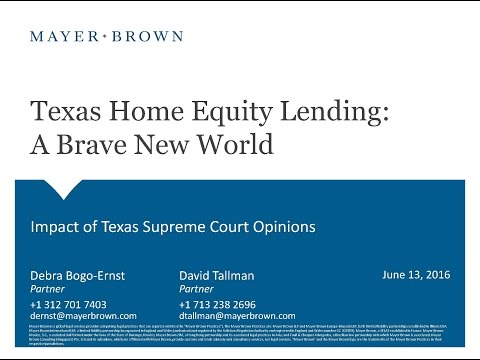 Texas Home Equity Lending - A Brave New World