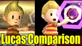 Lucas Full Side by Side Comparison (Super Smash Bros Brawl VS Wii U)