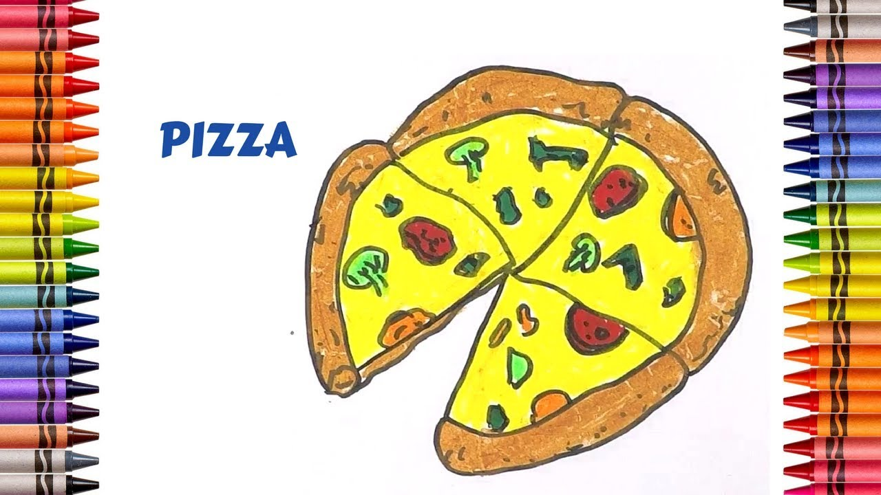 How To Draw A Pizza Easy Step By Step Drawing For Children Art Colors For Kids