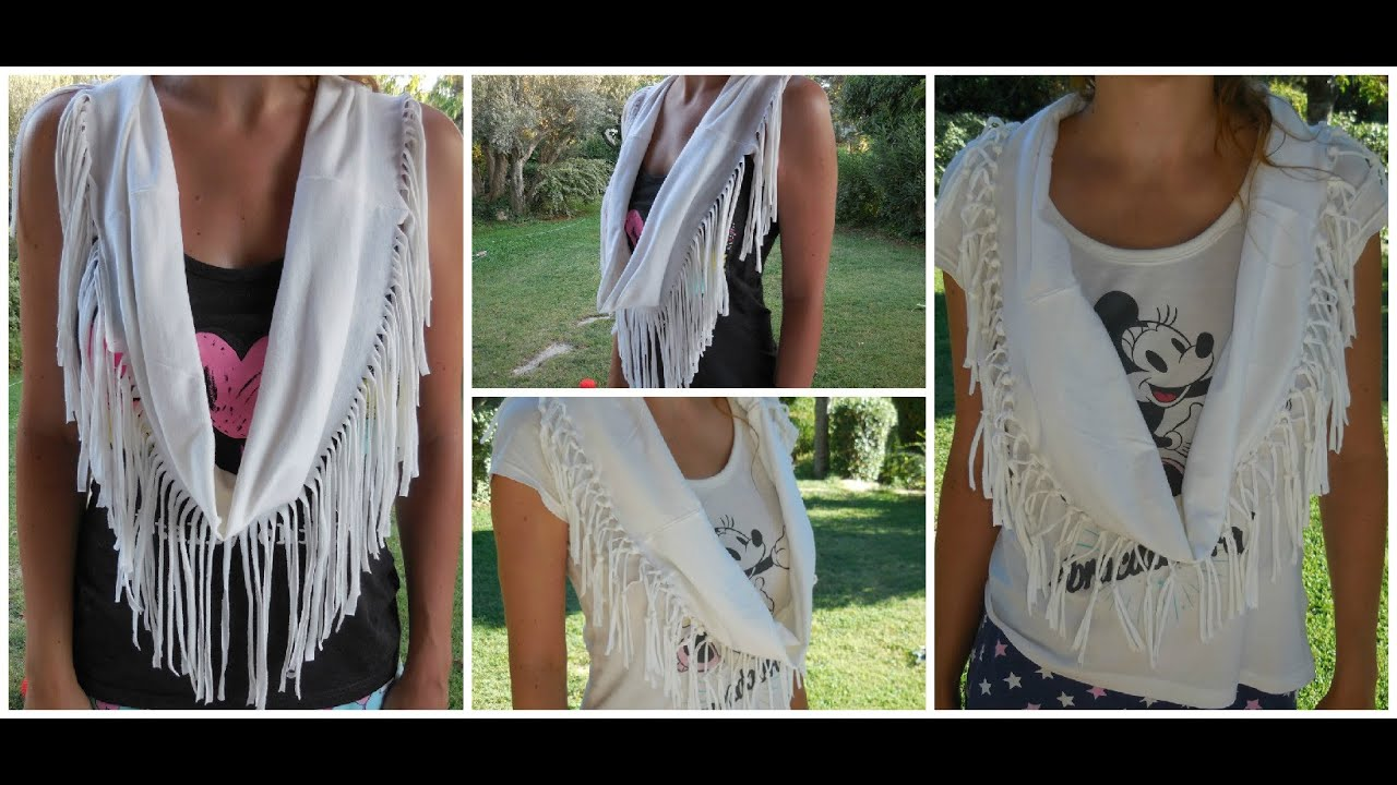 foulard franges avec un tee shirt faire soi m me fringe scarf from t shirt diy r cup. Black Bedroom Furniture Sets. Home Design Ideas