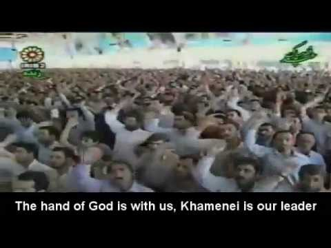 Crowd chanting before Ayatollah Khamenei's speech in University of Tehran