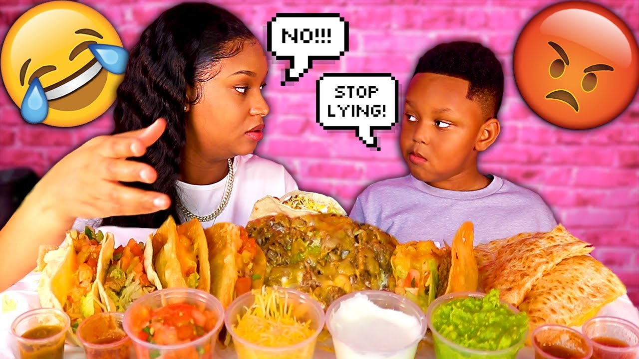 LYING PRANK ON MY 6 YEAR OLD JUJU (MEXICAN FOOD) TACOS MUKBANG 먹방 | QUEEN BEAST