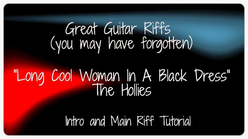 Long cool woman in a black dress tab guitar