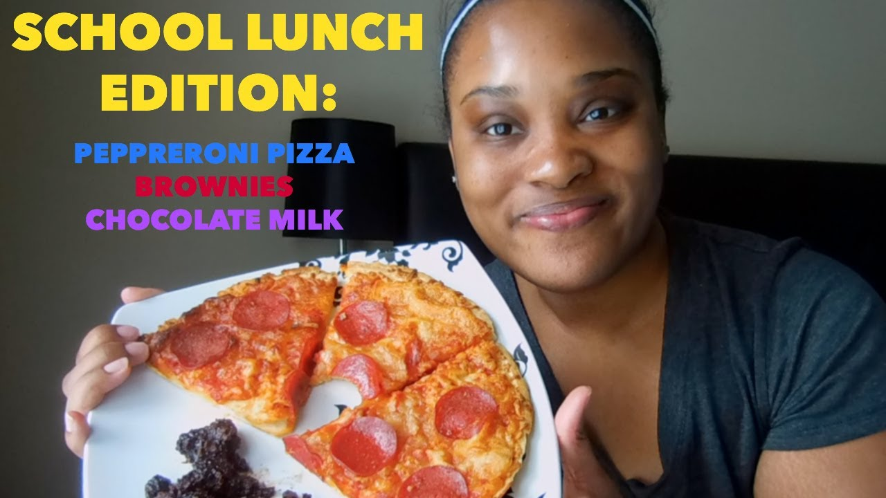 SCHOOL LUNCH EDITION: PEPPERONI PIZZA BROWNIE & CHOCOLATE MILK MUKBANG - YouTube