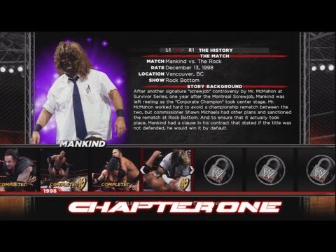 WWE'13: Attitude Era Mode - Mankind Ep.1: Mankind vs. The Rock Rock Bottom