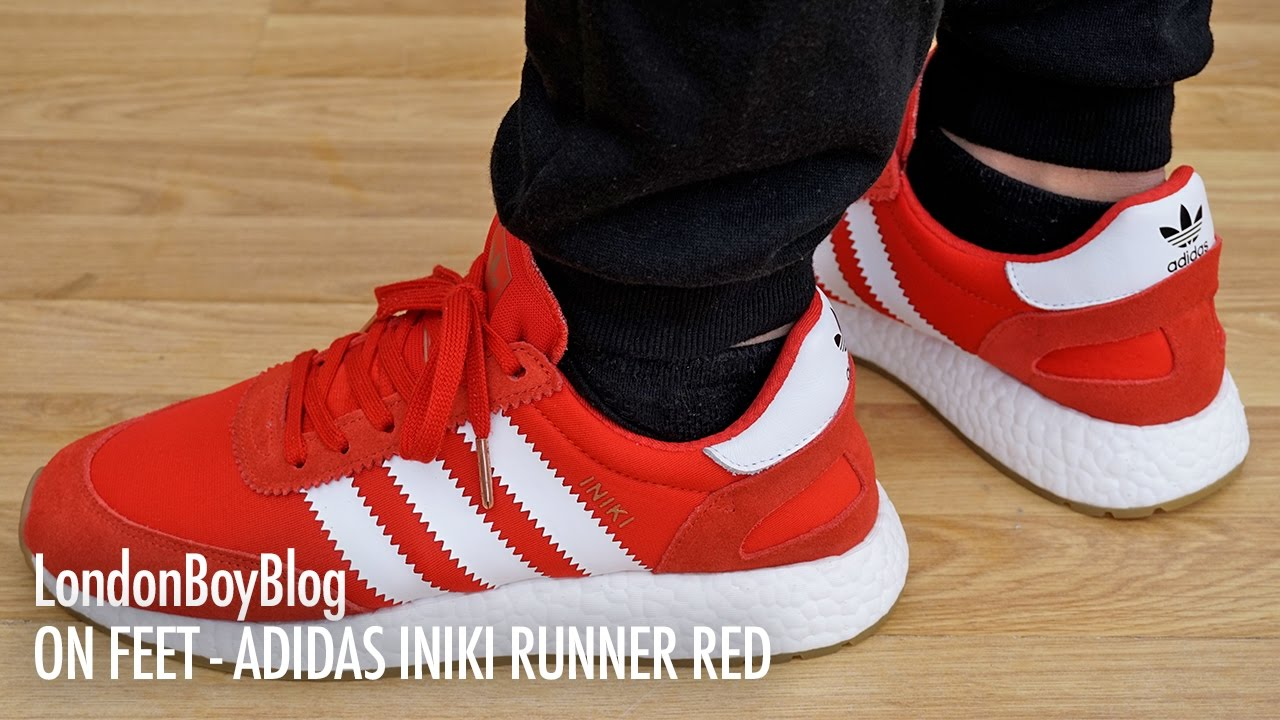 On Feet - Adidas Iniki Runner Red. London Boy Blog