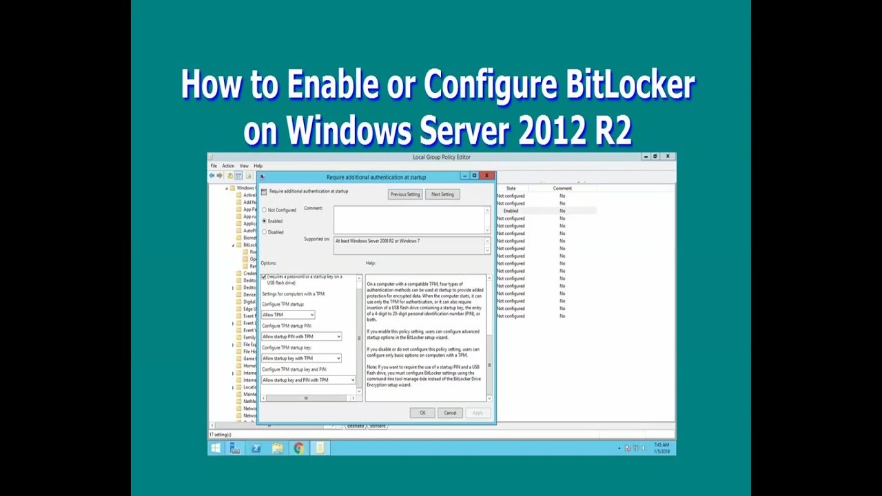 How to Enable or Configure BitLocker on Windows Server 2012 R2