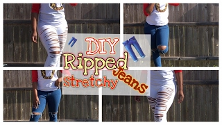DIY Ripped Jeans - Stretchy Jeans