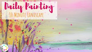 Abstract Landscape Painting | Spring Blossoms | Daily 10 minute Painting Challenge - Day 1