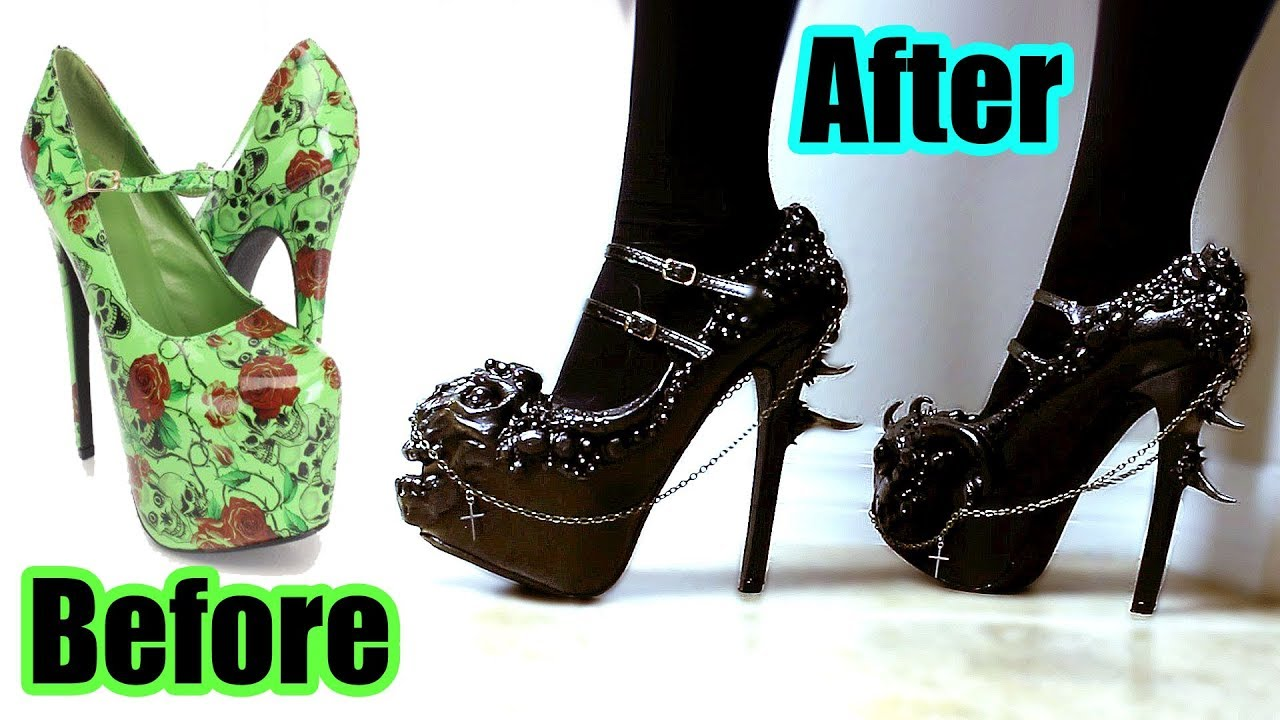 DIY Custom Gothic Shoes! Hand Sculpted