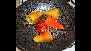 Перец болгарский жареный с чесноком \ Сладкий перец на сковороде.