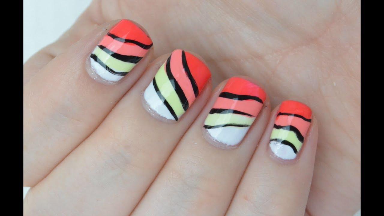 Vrolijke Free Hand NailArt op korte nagels! - YouTube