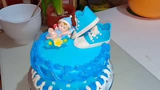 BOILED ICING/Basic cake decorating for birthday/baptism cake.