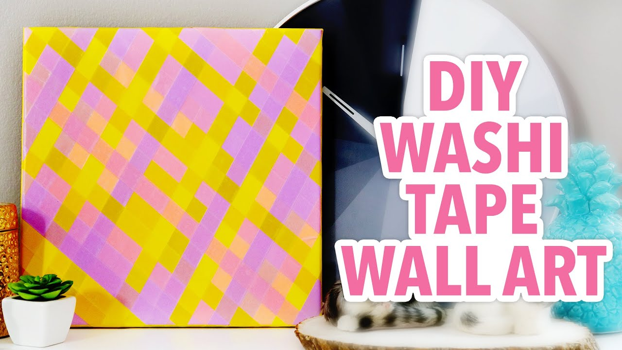 DIY Plaid Wall Art using Washi Tape | @karenkavett - YouTube