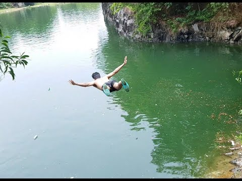 Amazing cliff diving at a pond in shirali bhatkal