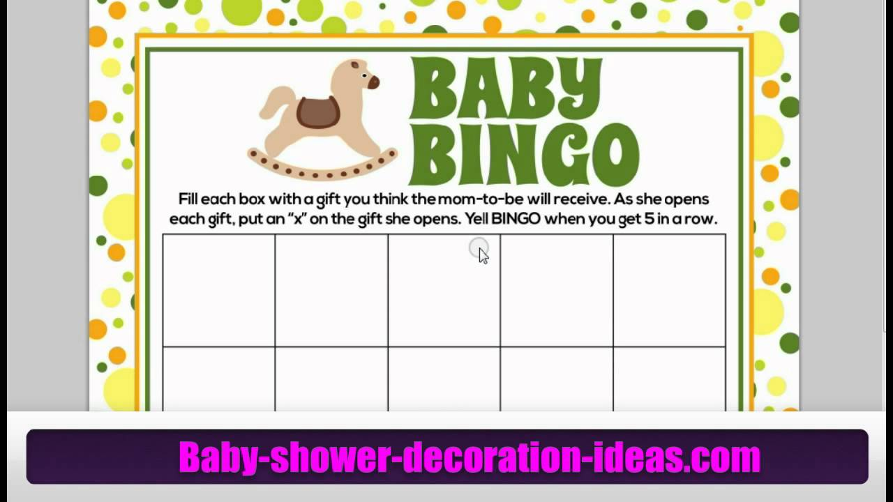 Printable Baby Shower Bingo Games - Yours For Free! - YouTube