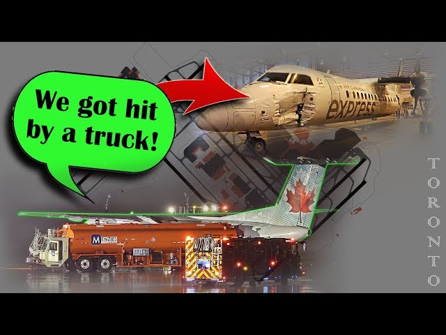 Jazz DASH-8 is HIT BY A FUEL TRUCK at Toronto/Pearson Airport!