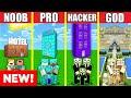 Minecraft Battle: HOTEL HOUSE BUILD CHALLENGE - NOOB vs PRO vs HACKER vs GOD / Animation