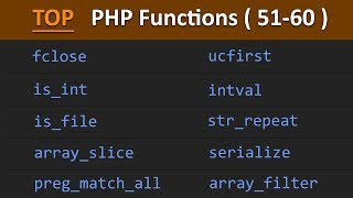 TOP 100 PHP Functions ( 51 - 60 ) | Learn PHP