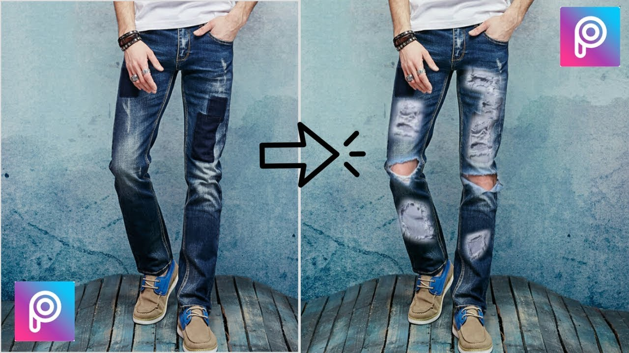 f60cd3b9 PicsArt Editing Tutorial | Convert Your Simple Jeans to Damage Jeans use  PicsArt