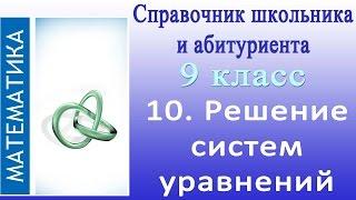 Решение систем уравнений. Видеосправочник по математике #10