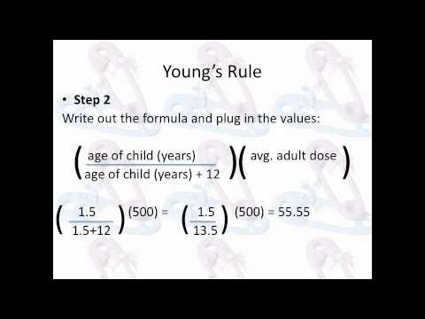Pharmacy Technician Math Review: Pediatric Doses: Young's Ru