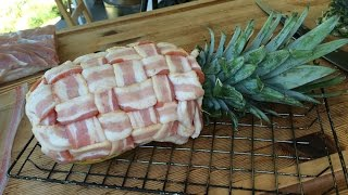 Swineapple - Pork Stuffed, Bacon Wrapped Smoked Pineapple