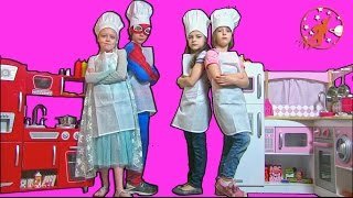 Kids Kitchen 1 - The Golden Spoon, The Twins, and The Kidkraft Toy Kitchens w/ Spiderman & Elsa