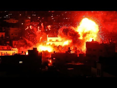 Israeli air strikes hit Gaza after rocket fire, Hamas TV destroyed