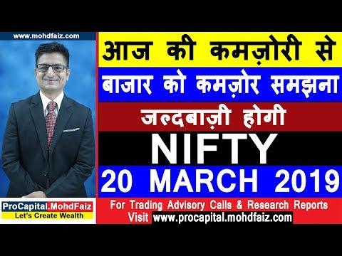 NIFTY TRADING STRATEGIES | आज की कमज़ोरी से बाजार को कमज़ोर समझना जल्दबाज़ी होगी  NIFTY 20 MARCH 2019