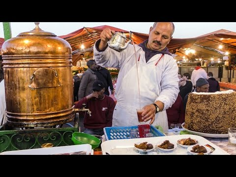 Spiced Tea and Pastries of Marrakech. Street Food of Morocco. Jemaa el-Fna Square
