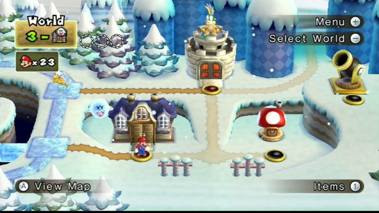 New Super Mario Bros Wii World 3 Ghost House Warp Cannon 25