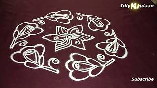 Simple Flower Kolam Design with Dots | 9x5 Dots Flower Rangoli | Chukkala Muggulu with 9x5 Dots