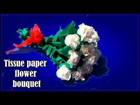 Tissue paper flower bouquet. Tissue paper craft.