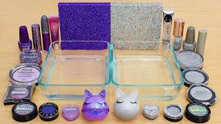Purple vs Holo - Mixing Makeup Eyeshadow Into Slime ASMR