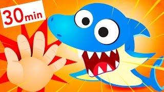 Finger Families! Baby Shark, Dinosaur, Baby Panda, Little Piggy  by Little Angel