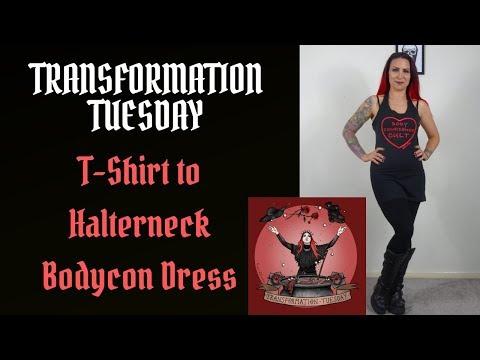 Transformation Tuesday - T Shirt to Halterneck Bodycon Dress