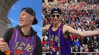 Jeremy Lin Finally Celebrates In A NBA Championship Parade While Carmelo & Chris Paul Punch The Air!