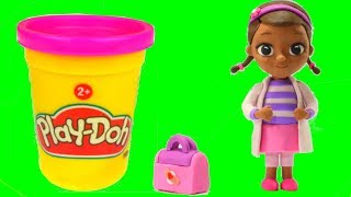 Doc McStuffins Play Doh Cartoons Dra Juguetes Stop Motion Animations & Surprise Toys