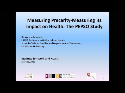Measuring precarity and its impact on health, March 8, 2016