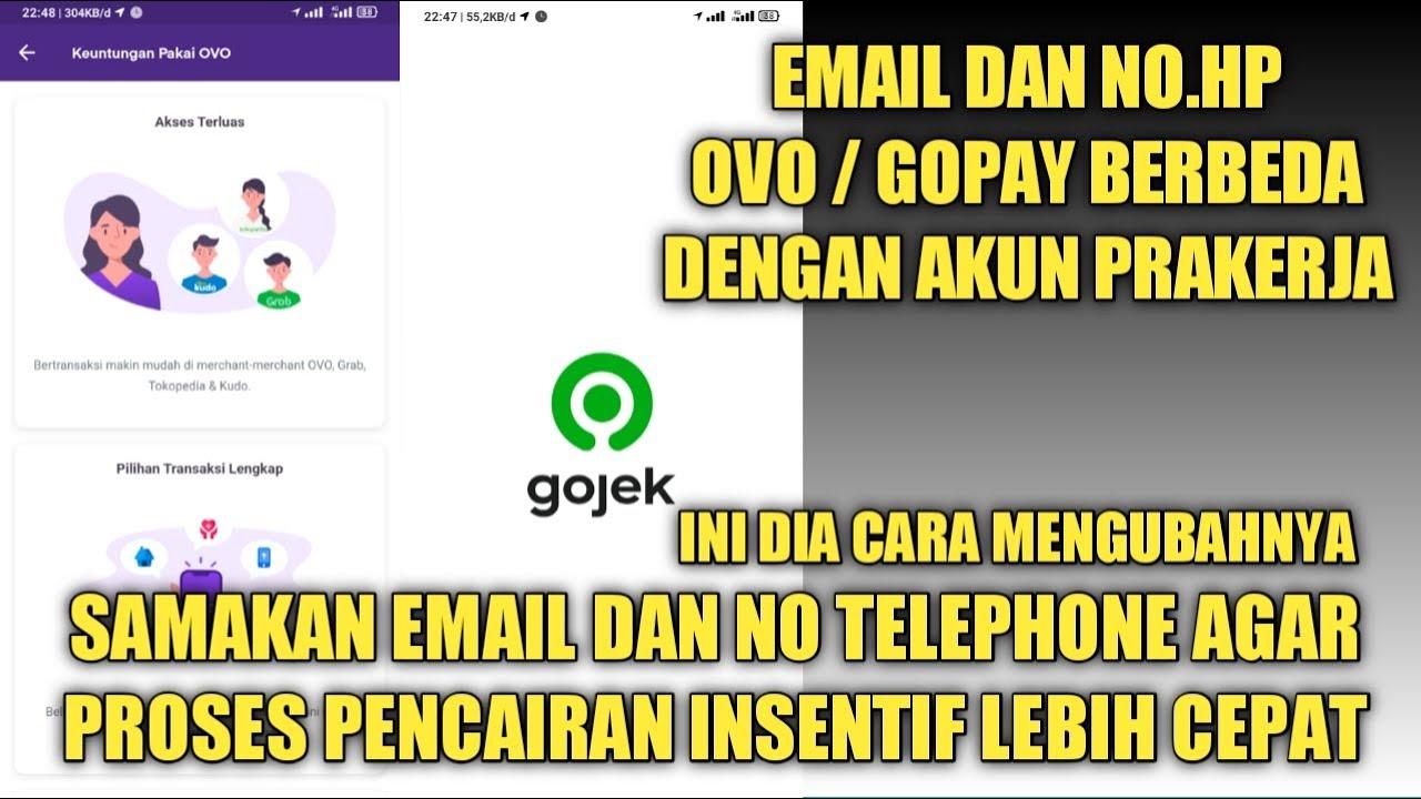 Cara ganti email grab,cara mengubah email dan no telepon ovo gopay dengan prakerja
