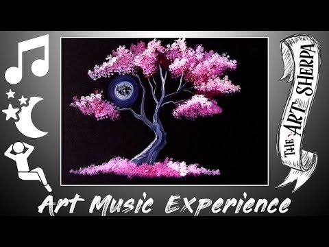 Pink Tree Holding Moon Q-tip Easy Acrylic Painting Technique For Beginners Relaxing Music