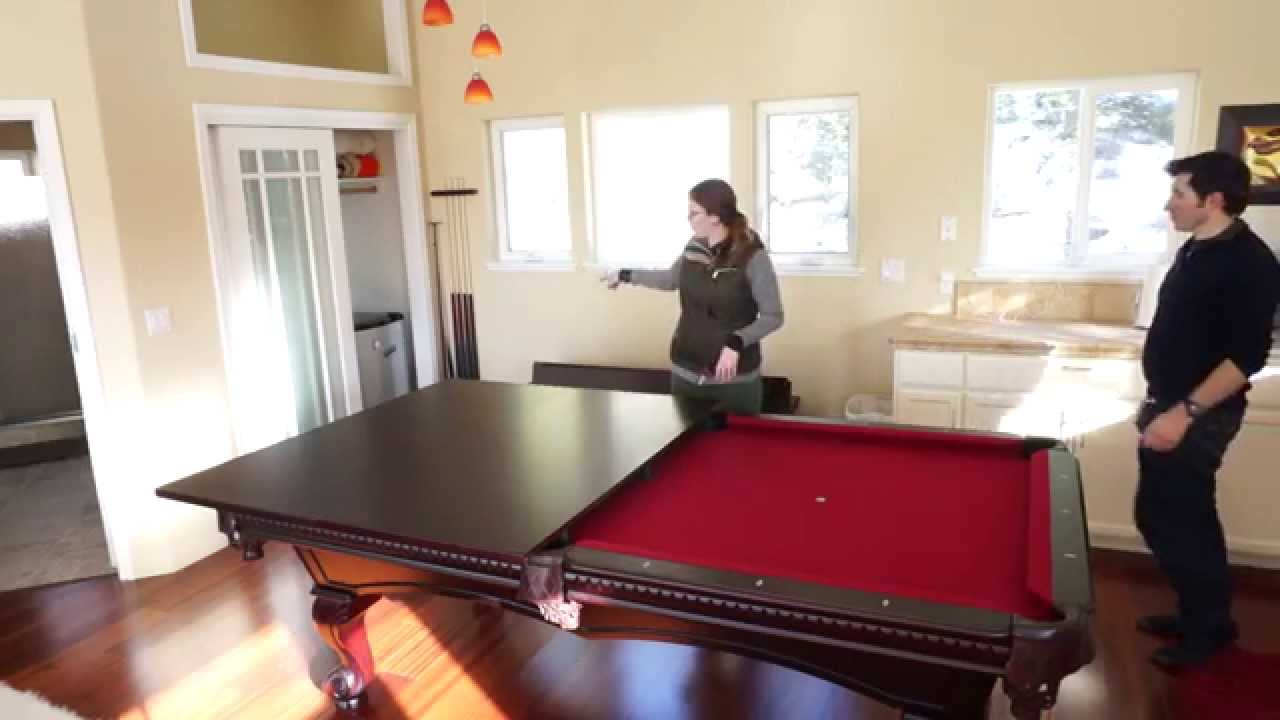 Using The Pool Table Dining Table Conversion Top In The Guest - Ping pong dining table combo